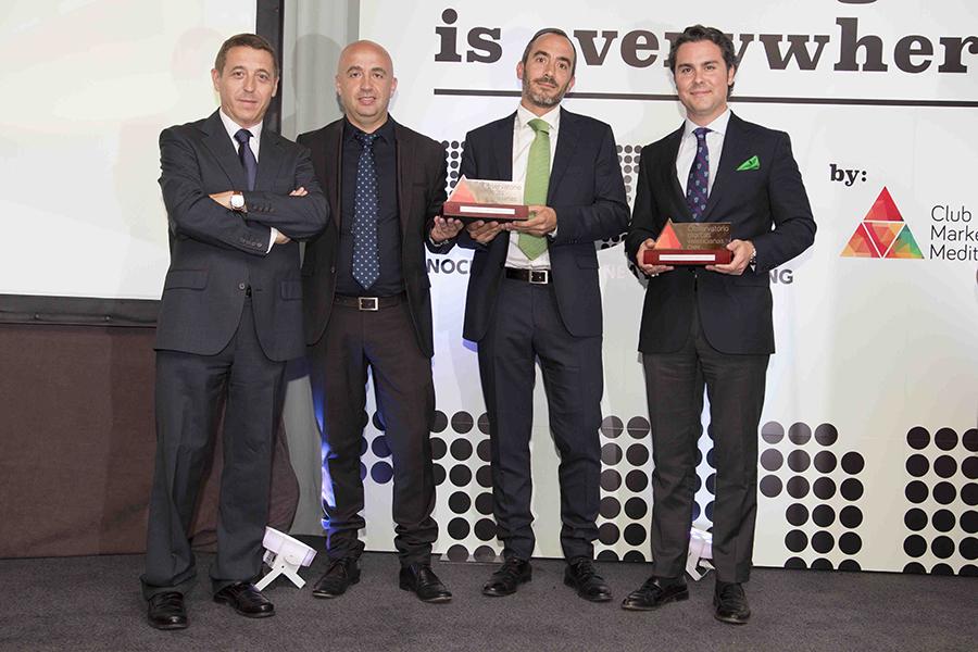 Bernardo Abril, director del Observatorio; Enrique Chovi, presidente de Chovi; Carlos Saiz, director de Exportación de Chovi, y José Luis García-Pons, director gerente de Sesderma, premiados en la pasada edición.